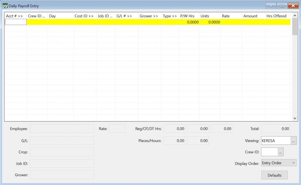 Daily Payroll Entry Example