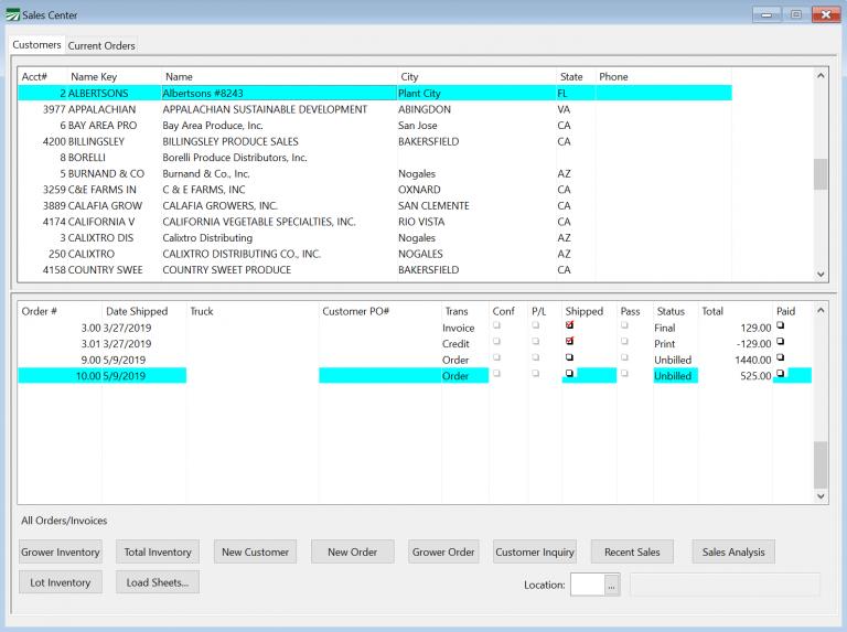 Inventory Program Sales Window
